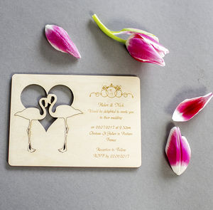 Flamingos Wooden Wedding Invitation