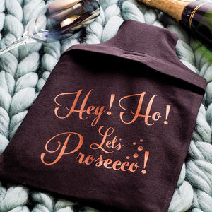 'Let's Prosecco' Hot Water Bottle Cover - stocking fillers for her