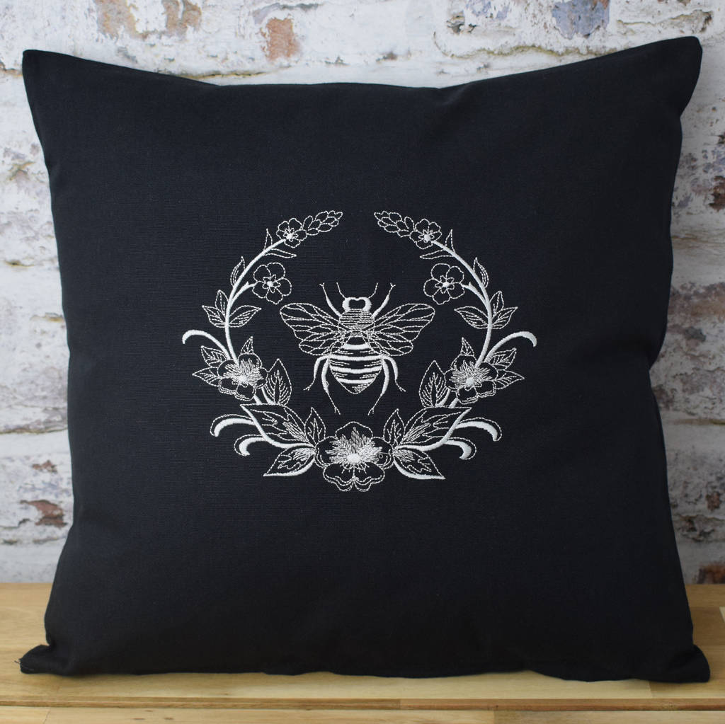 Embroidered Bee Wreath Designer Cushion By Iredale Towers