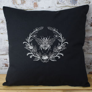 Embroidered Bee Wreath Designer Cushion