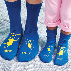 Personalised Cheeky Monkey Daddy Socks - men's fashion
