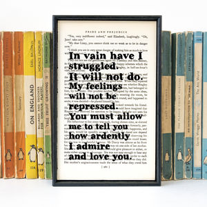 Pride And Prejudice 'In Vain…' Wedding Gift Book Print - typography