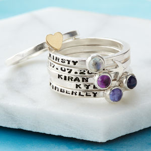Personalised Birthstone Stacking Rings - july birthstone