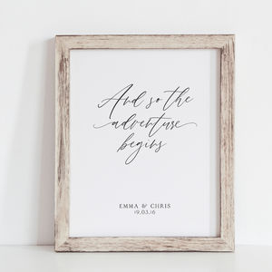 'And So The Adventure Begins' Wedding Gift