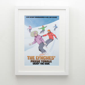 Personalised Family Snowboarding Comic Book Style Print