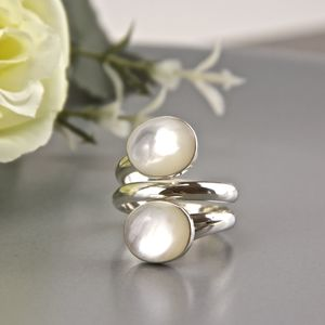 Sterling Silver Open Mother Of Pearl Ring - rings