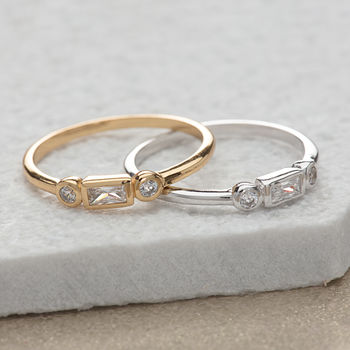 Gold and Silver Baguette and Bezel Ring by Scream Pretty