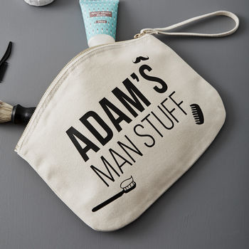 Personalised 'Man Stuff' Grooming Pouch