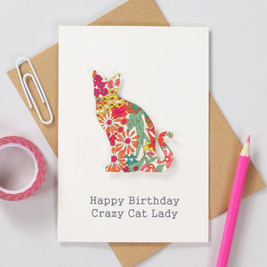 Personalised Liberty Cat Birthday Card - personalised cards