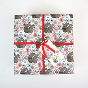 Gift Wrapping Paper Squirrel Among Flowers