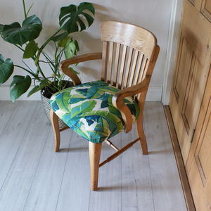Palm Print Oak Chair - furniture