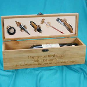 Personalised Wooden Wine Bottle Box With Accessories