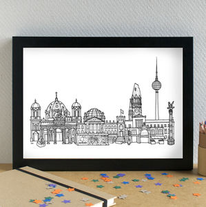 Berlin Skyline Cityscape Art Print - maps & locations