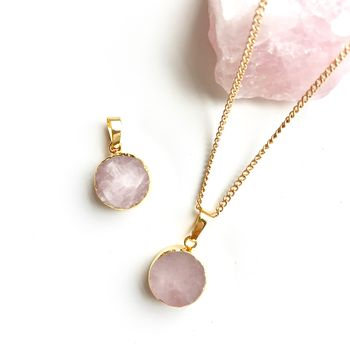 Rose Quartz Mini Circle Pendant Necklace