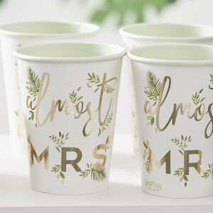 Gold Foiled Almost Mrs Paper Hen Party Cups