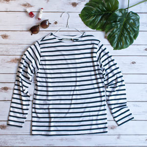 Ladies Classic Striped Breton Top - tops & t-shirts