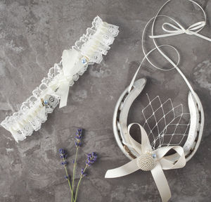 Brigitte Garter And Lucky Horseshoe Gift Set - bridal lingerie & nightwear