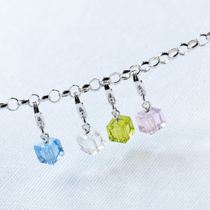 Crystal Cube Charm With Lobster Clasp