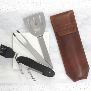 Bbq Multi Tool With Personalised Leather Sleeve - kitchen