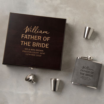 Personalised Father Of The Bride Hip Flask Gift Set