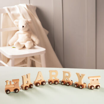 Personalised Christening Wooden Name Train