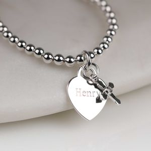 Personalised Child's Christening Cross Skinny Bracelet