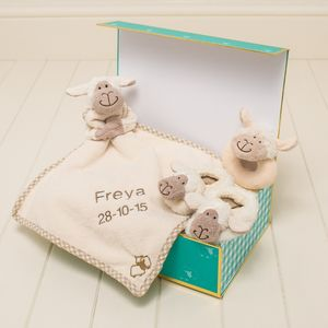 Personalised Comforter, Slippers, Rattle Baby Gift Set - soft toys & dolls
