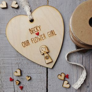 Personalised Flower Girl Or Bridesmaid Heart - for children