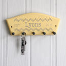 Personalised Surname Key Rack With Chevron Design