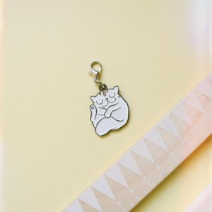 Sleepy Cat Clip On Enamel Charm For Bracelet
