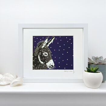 'Donkey In The Snow' Signed Print Of Original Linoprint