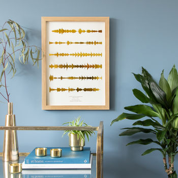 Gold Sound Waves Print on Natural Paper