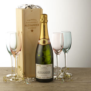 Personalised Champagne And Wooden Box Christening Gift - wines, beers & spirits