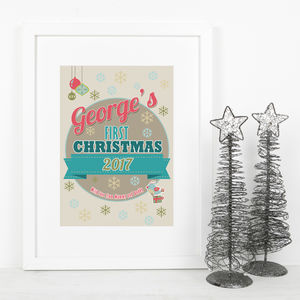 Baby's First Christmas Personalised Art Print