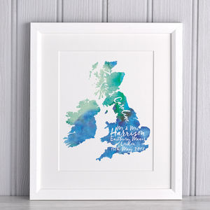 Personalised Watercolour Special Location Map - new in prints & art