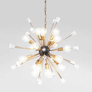 Retro Sputnik Brass And Crystal Chandelier - pendant lights