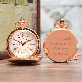 Engraved Pocket Watch Rose Gold In Box