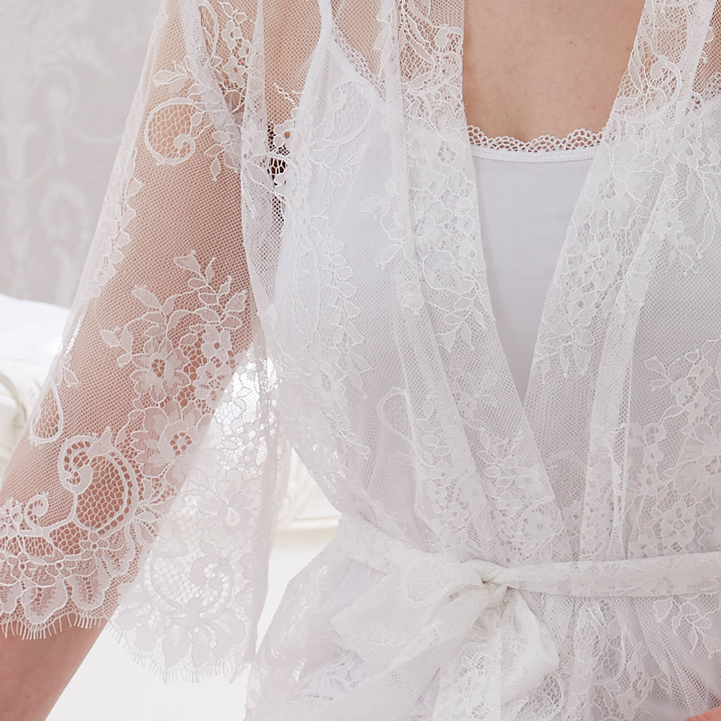 bridal white lace dressing gown by mini lunn | notonthehighstreet.com