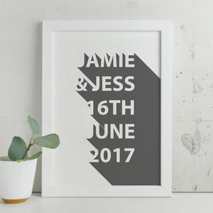 Personalised Contemporary 3D Shadow Wording Print