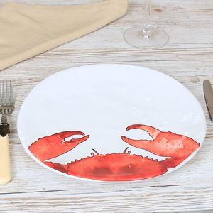 Set Of Two Matching Crab Dinner Plates - kitchen