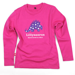 Girl's Personalised Dinosaur T Shirt - gifts for babies & children sale