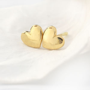 Mini Heart Stud Earrings In 18ct Gold