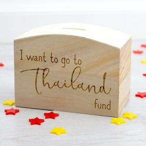 Personalised I Want To Go To Fund Money Box - money boxes