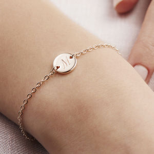 Personalised Initial Disc Bracelet - gifts for her
