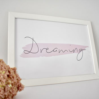 'Dreaming' Contemporary Typographic Print