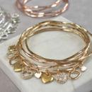 Personalised Diamante Heart Charm Bangle Set