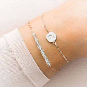 Personalised Aquamarine And Initial Disc Bracelet Set