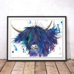 Splatter Highland Cow Watercolour Fine Art Giclée Print - animals & wildlife