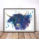 Splatter Highland Cow Watercolour Fine Art Giclée Print