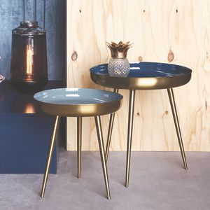 Set Of Two Enamelled Nesting Tables - furniture